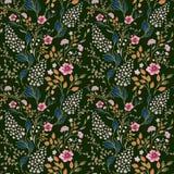 导航无缝的明亮的五颜六色的柔和的手拉的矮小的ditsy花纹花样 在黑色的明亮的花卉全面的印刷品 免版税库存图片