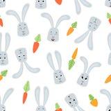 导航无缝的样式用动画片兔子和红萝卜 免版税库存图片