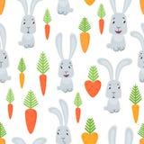 导航无缝的样式用动画片兔子和红萝卜 库存图片