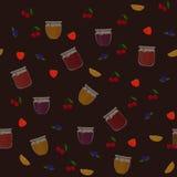 导航无缝的样式用桔子、蓝莓、草莓和樱桃果酱 库存照片