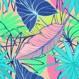 导航无缝的美好的艺术性的明亮的热带样式用香蕉,室内植物和龙血树属植物叶子,夏天海滩乐趣 库存照片