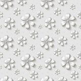 导航无缝的花卉样式,与3d白皮书被删去的花的背景 免版税库存照片