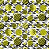 导航无缝的黑白色黄色葡萄酒20世纪80年代波浪线和圈子混杂样式 免版税图库摄影