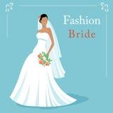 导航时尚美丽的新娘佩带的白色婚礼礼服和藏品的例证花束 10 eps 免版税库存图片