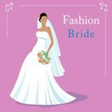 导航时尚美丽的新娘佩带的白色婚礼礼服和藏品的例证花束 10 eps 免版税图库摄影