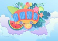 导航时髦梯度与公共汽车在云彩,水橇板,果子,鸡尾酒的cuted纸样式暑假概念 皇族释放例证