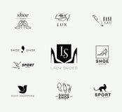 导航时髦的现代鞋子商标的平的收藏妇女、人和孩子的 免版税图库摄影