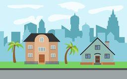 导航有两棵两层动画片房子和棕榈树的城市 库存照片