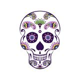 导航有乱画花卉样式的五颜六色的糖头骨 图库摄影