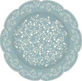 导航有圆的装饰品的装饰陶瓷或瓷板材在种族东方样式 与pomeg的抽象花卉鞋带样式 库存照片