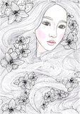 导航有奇迹长的头发和黑兰花的美丽的女孩 向量例证