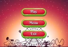 导航有文本的动画片样式塑造外形的按钮在游乐园背景的游戏设计的 皇族释放例证
