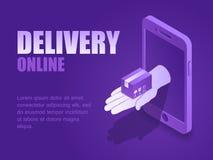 导航有智能手机屏幕着陆页交付邮政包裹的例证等量手  向量例证