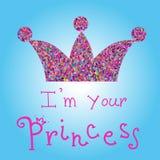 导航有桃红色标题的浪漫五颜六色的冠在蓝色背景 我是您的公主 对T恤杉印刷品,电话盒 免版税库存照片