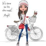 导航有自行车和狗的逗人喜爱的行家女孩 免版税库存照片