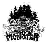 导航有软体动物和森林风景的触手的巨型卡车 神秘的动物汽车纹身花刺 冒险,旅行 免版税图库摄影
