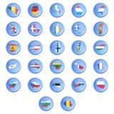导航有Eur的状态的标志的按钮 免版税库存图片