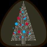 导航未来派常青圣诞树的例证,技术 向量例证