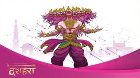 导航杀害在印度的愉快的Dussehra Navratri海报节日的Rama阁下的例证Ravana 翻译:dussehra 库存例证