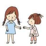 导航来两个的小孩的例证结合在一起使手 库存例证
