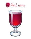 导航杯在短的茎的红葡萄酒 库存图片
