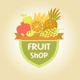 导航果子商店的,果汁商标 免版税库存照片
