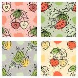 导航果子无缝的样式西瓜,樱桃,草莓,莓果,与叶子,污点,下落飞溅手拉的等高的梨 向量例证