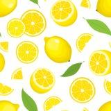 导航柑橘产品-与叶子的柠檬无缝的背景在白色背景 整个果子和切片 皇族释放例证