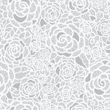 导航柔和的银灰色鞋带玫瑰无缝的重复样式背景 伟大为婚姻的或新娘阵雨装饰 皇族释放例证