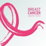 导航桃红色丝带的水彩手拉的例证,乳腺癌10月了悟月 库存图片