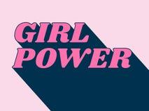 导航桃红色女孩力量词的例证与斜体的字体和深阴影的 库存例证