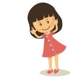 导航桃红色礼服的逗人喜爱的动画片女孩在白色背景 库存照片