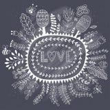 导航框架,乱画花和爱字法 背景grunge活版爱任意类型字 浪漫背景 在黑板黑板的白垩纹理 库存例证