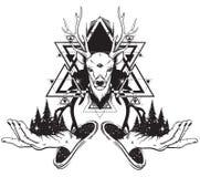 导航森林的手拉的例证在人的手和鹿上的与三只眼睛 免版税库存照片