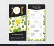 导航模板与金利器的餐馆菜单和样式西瓜和花 库存例证