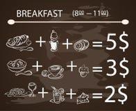 导航模板早餐黑板菜单葡萄酒海报,传染媒介集合 库存例证