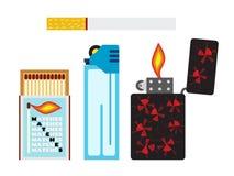 导航比赛、香烟和两个打火机的例证 平的样式 库存照片