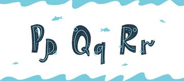 导航水下的拉丁字母P,Q,在斯堪的纳维亚样式的R 皇族释放例证