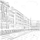 导航江边大厦的手拉的黑白图画的图象在圣彼德堡的历史的中心 库存图片