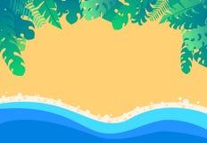 导航沙滩有热带密林异乎寻常的叶子背景 库存例证