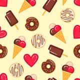导航油炸圈饼的样式,冰淇凌和红色心脏 库存图片