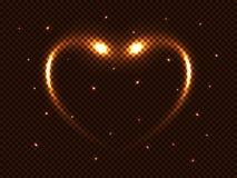 导航波斯菊金黄魔术发光的霓虹闪光、心脏和星,对透明背景的强光空间光线影响,横幅 皇族释放例证