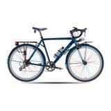 导航游览在平的样式的自行车的例证 图库摄影