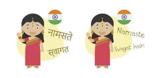 导航漫画人物在北印度语的问好和欢迎和它的意译的例证入拉丁字母 皇族释放例证