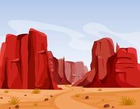 导航狂放的西部得克萨斯沙漠风景的例证与峡谷干草和红颜色山的  平的动画片 库存例证