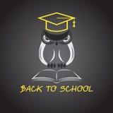 导航猫头鹰玻璃的图象与学院帽子的 免版税库存图片