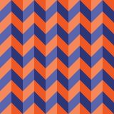导航现代无缝的五颜六色的几何V形臂章线样式,颜色蓝色橙色摘要 免版税库存图片