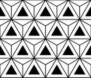 导航现代无缝的神圣的几何样式六角形三角,黑白摘要 免版税库存照片
