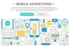 导航现代线平的流动广告营销销售概念 流动广告营销技术象 免版税库存照片