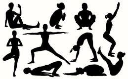 导航瑜伽剪影妇女的10最佳的asanas 瑜伽集合 免版税库存图片